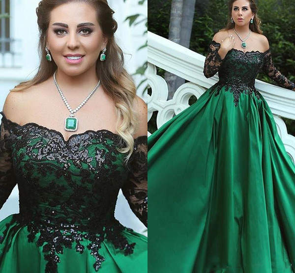 2018 One Word Long Sleeve Black Top Decorations Light Sequins Green Bottom Formal Elegant Prom Dress Party Dresses Custom Made
