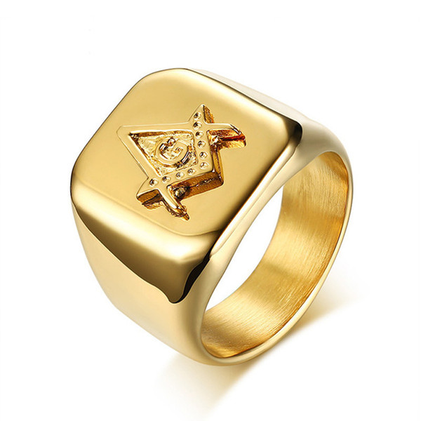 Color oro para hombre brújula masónica Cuadrado anillo de albañil libre de alta pulido de acero inoxidable anillo masculino grande del partido fresco de la joyería