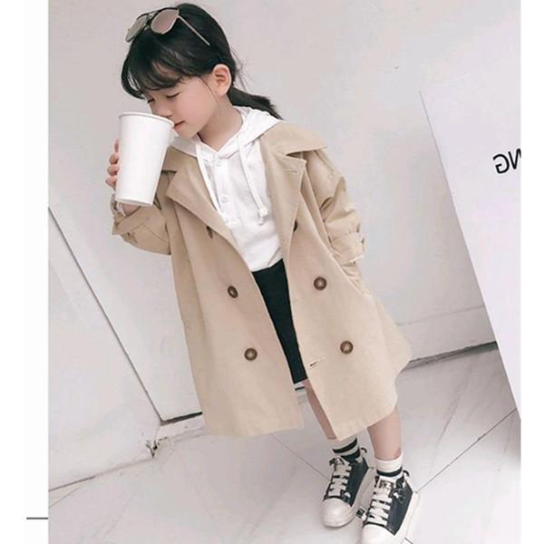 Les filles de la mode nouvelle couleur unie coupe-vent fille simple manteau long occasionnel fille lâche veste printemps manteau de mode automne