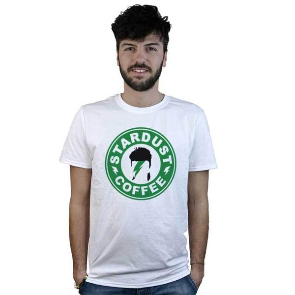 T-shirt Stardust café, camiseta Branco Ziggy Rock café, Música, Duque branco