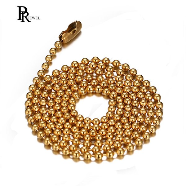 Stainless Steel Small Beads Ball Chain Necklace for Men Women 24 Inch Silver Black Gold 2.4mm