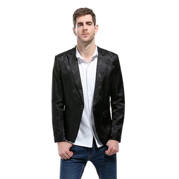 Blazer Erkekler 2018 Yüksek Kalite Takım Elbise Ceket Erkek Tarzı Standı Yaka Erkek Blazer Slim Fit Erkek siyah Ceket Erkekler Boyutu M-3XL
