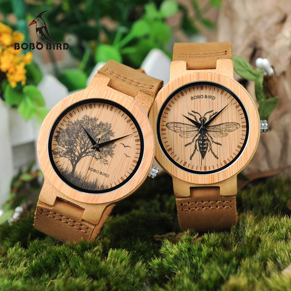 BOBO BIRD Watch Men Wooden Lifelike Print Dial Face Quartz Watches Fashion 3D Visual Timepieces as Gift relogio masculino S914