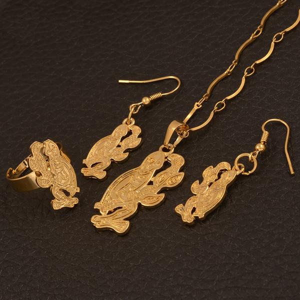 PNG Monkey Necklace Earrings / Ring Jewelry Sets for Women, Joyería étnica de moda de Papua Nueva Guinea # 112606