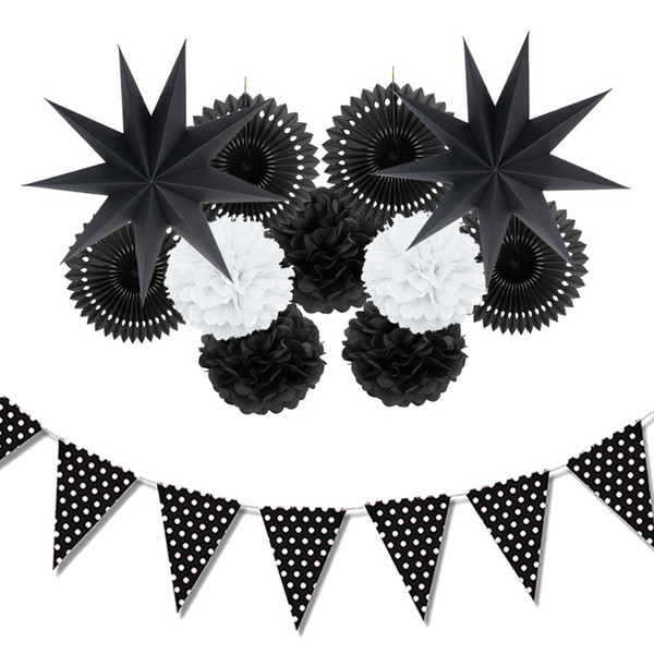 12pc (Black,White) Paper Decoration Set Party Decor Paper Fans Stars for Birthday Party Wedding Baby Showers Garden Space Decor
