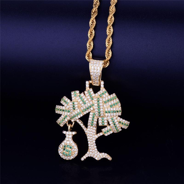 Bulk Lots Money Tree Pendant Gold Chain Hip Hop Jewelry Designer Jewelry Choker Iced Out Chains Statement Necklaces Mens Gold Pendant