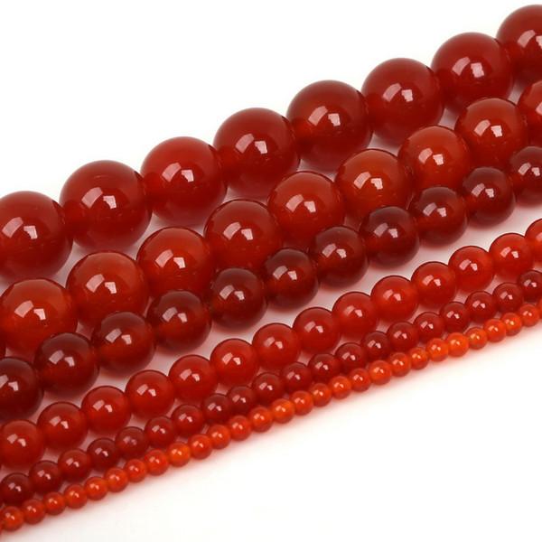 Whoelsale 100% naturale agata rossa perline di corniola, perline sparse gioiello, 4mm 6mm 8mm 10mm 12mm per monili che fanno 15.5
