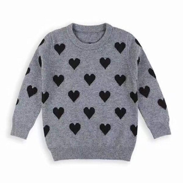 Baby Girls Sweaters Kids Pullover Sweater Children Cute Love Knitted Gray  Color Wool Sweater Baby Girls Boutique Clothes Sweater Design For Boy Free