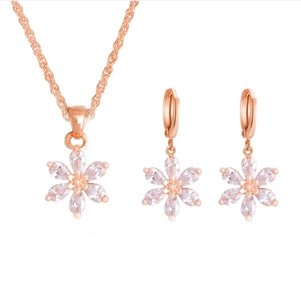H:HYDE 1SET Nice Shipping Jewelry Sets Gold Color Clear Cute Flower CZ Zircon Pendant Necklace Earrings Wedding Jewelry Set
