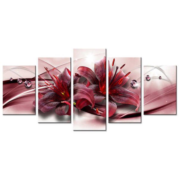 Red Lily Flower Canvas Painting Diamond Ribbon Background Wall Art Painting For Home Decor with Wooden Framed Contemporary Artwork