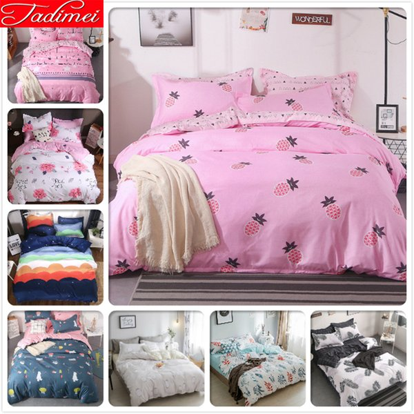 Pink Duvet Cover 3/4 pcs Bedding Set Adult Kids Child Soft Cotton Bed Linens Single Twin Full Double Queen King Size Quilt Case