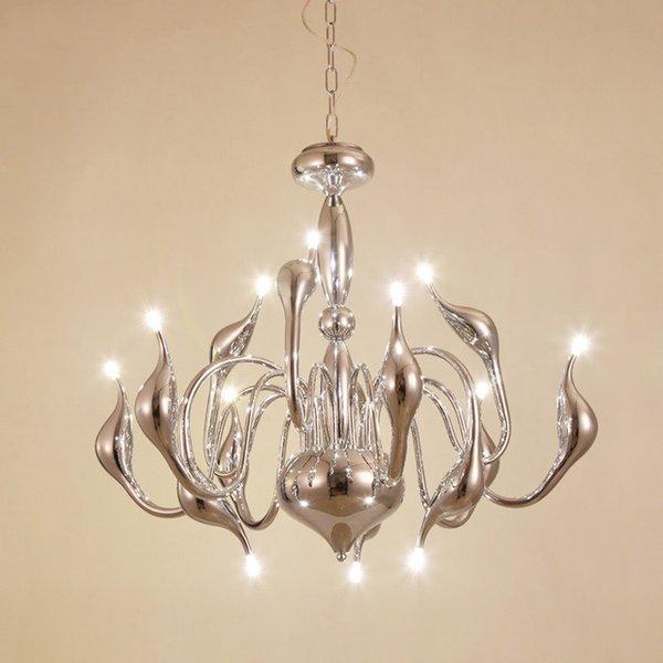 European Swan LED G4 Chandeliers Candle hanging Lighting white black gold for Bedroom Living Modern Decoration Home lights E092