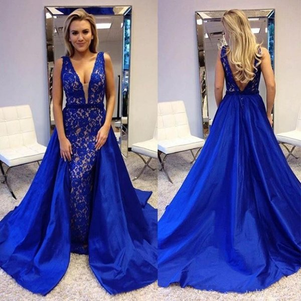 2018 Mermaid Royal Blue Evening Dresses Long V Neck Backless Lace Sexy Prom Dress Elegant Beautiful Party Gowns