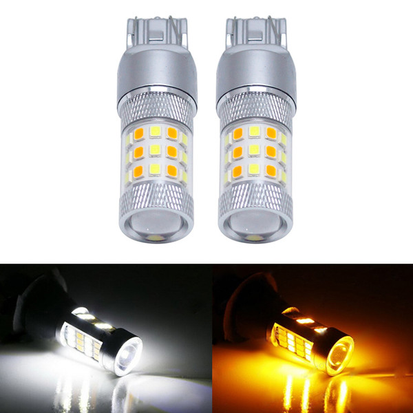Großhandel Xenon Weiß / Amber Keine Hyper Flash 7443 2835 Chip 42SMD Switch LED-Lampen für vordere Blinker # 5313