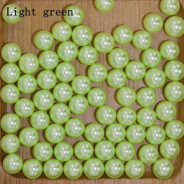Light green No Hole 6-10mm Round Pearls Imitation Pearls Craft Art Diy Beads Nail Art Decoration