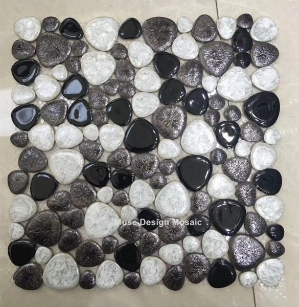 Acheter Noir Blanc En Ceramique Pebble Mosaique Carrelage Cuisine Papier Peint Salle De Bains Piscine Douche Plancher Cheminee Tv Backgroud Carreaux