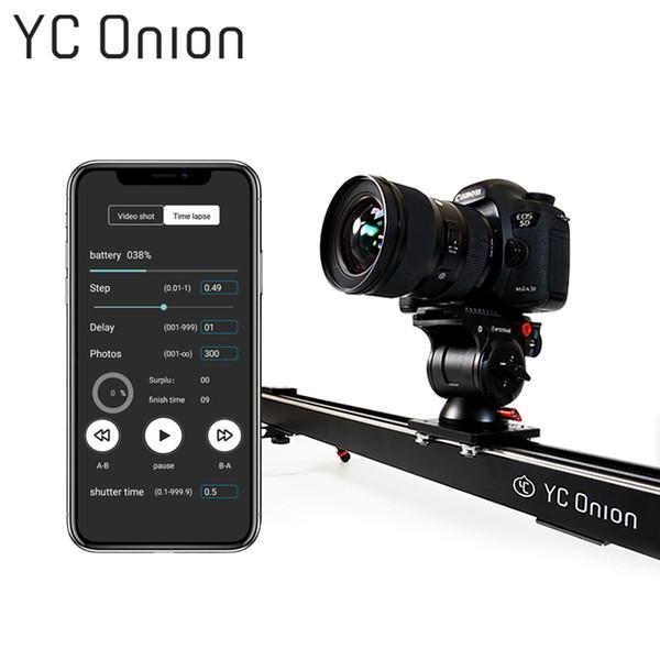 YC ONION Alüminyum Motorlu Kamera Kaymak App Bluetooth Kontrolü Için Fotoğraf Ile Motorlu Istikrarlı Pürüzsüz Slider Kamera DSLR