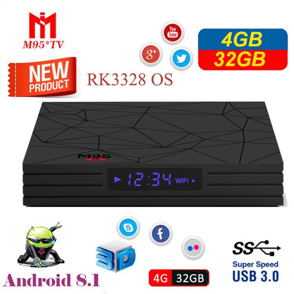 Ucuz M9S Y2 Android 8.1 tv kutusu RK3328 4 GB 32 GB Wifi Bluetooth 4 K VP9 H.265 HDR10 akış medya oynatıcı Daha Iyi A5X MAX S8 MAX T9