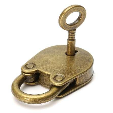 top popular 1Set Metal Old Vintage Style Mini Padlock Small Luggage Box Key Lock Copper Color Lot Of 3 Home Usage Hardware Decoration 2021