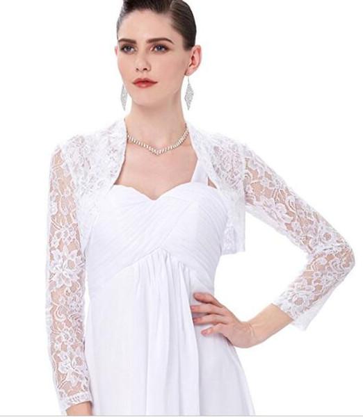 2018 Summer Collection Long Sleeve Bridal Lace Jacket 100% Good Quality New Brand Wedding Bolero Free Custom Made