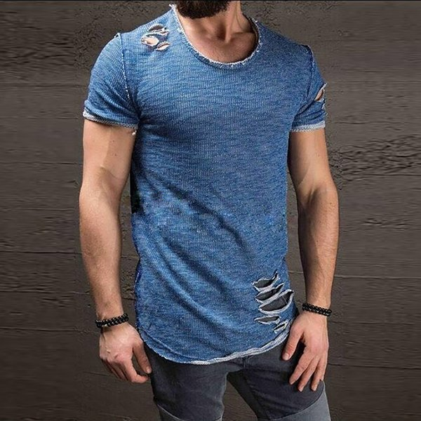 Cotton Men 'S T Shirt Vintage Ripped Hole Hip Hop T -Shirt Men Fashion Casual Top Tee Men Mineral Washed Activewears