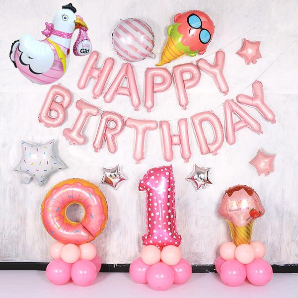 Kinder ein Jahr alt alles Gute zum Geburtstag Banner Fahnen Dekoration Mädchen Baby Dusche niedlich rosa Ballon Ornament Party Supplies 39jl bb