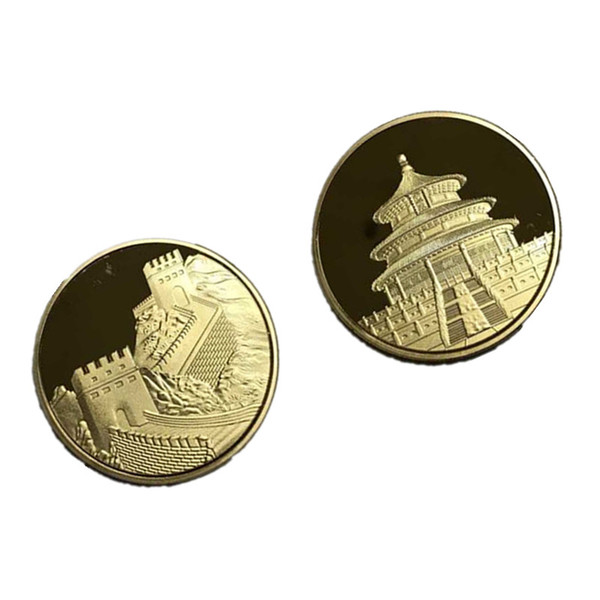 20 Pc The world wonder Chinese Great wall Temple of heaven coin gold plated 40 mm badge souvenir decoration coin