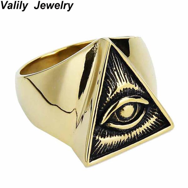 ganzverkaufValily Schmuck Mens Jungen Ägyptische Auge von Horus Ra Udjat Talisman Silber Gold Edelstahl Punk Biker Ring Modeschmuck