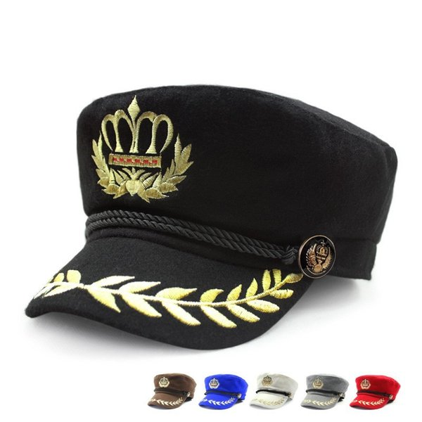 Casual Navy Cap Ricamo Inverno Tenere caldo Casquette per uomini donne Cosplay Party Dress Sailor Hat Alta qualità 20dt BB
