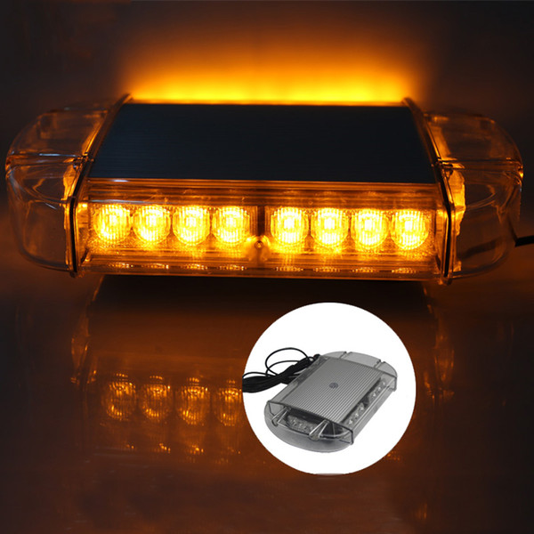 24 LED Strobe Warning Light Police Flashing Light Bar for 12V 24V Automobiles Truck Trailer with Magnetic Base Yellow