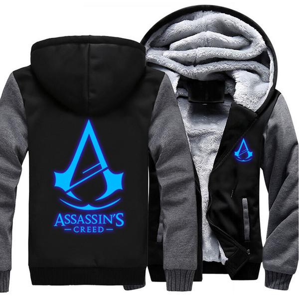 USA größe Männer Frauen Assassins Creed Leuchtende Jacke Sweatshirts Verdicken Hoodie Mantel Kleidung Lässig