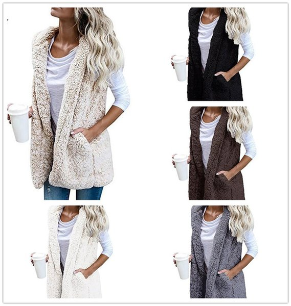 Mujeres cálidas chaleco con capucha chaqueta de invierno sudadera con capucha Outwear Faux Fur Zip Up Sherpa abrigo ocasional M287
