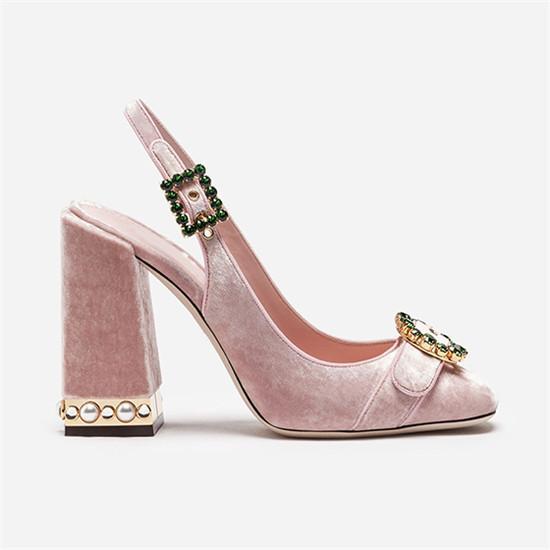 Luxury Runway Shoes Women Summer Sandals Round Toe Party Wedding Shoes Block High Heels Crystal Buckle Rhinestone Sandals Pink Silver Pumps