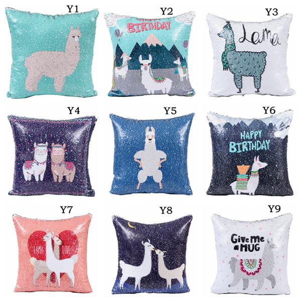 40*40cm BIY Mermaid sequins Alpaca Pillowcase Sofa Cushion Cover Home Cafe Office Decor Pillowslip Car Seat Pillows Case 10 Styles AAA1067