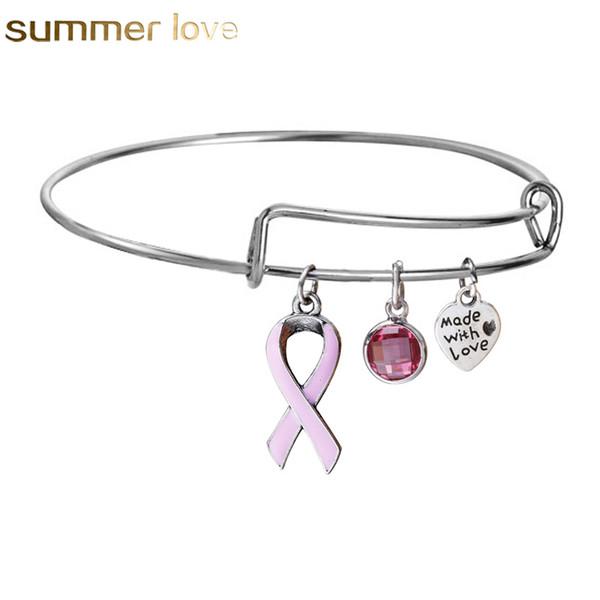 Ruban Rose Cancer Du Sein Bracelets Nouveau Concepteur Extensible Fil Mignon Bracelet Bracelet Cadeau Pour Les Femmes qui Allait Survivant Bijoux