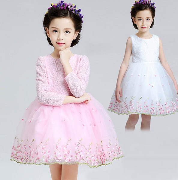 Flower Girl Dress 2018 Kids Girls elegant lace ball gowns Wedding Princess Party Pageant Formal long sleeve Dress Lace Tulle Dress