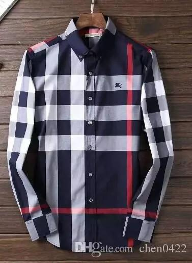 chanel02 / 2018 dos homens da marca de negócios camisa casual dos homens de manga longa listrada slim fit sociais camisas masculinas nova moda xadrez camisa fr