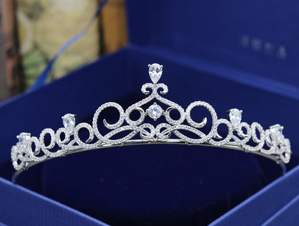 Bride Korean version of the new simple full zircon crown wedding headdress wedding dress accessories