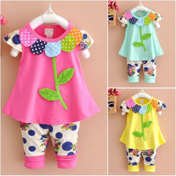 New 2pcs baby Girls clothes tops+pants Set Outfits spring suit clothes flower kids Summer Girls Clothing 1-4Years