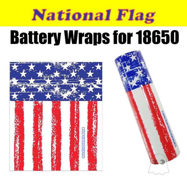 National USA Flag Vaping Proverbs Skeleton Skull Army 18650 Battery PVC Skin Sticker Vaper Wrapper Cover Sleeve Heat Shrink Wrap 5pcs/bag
