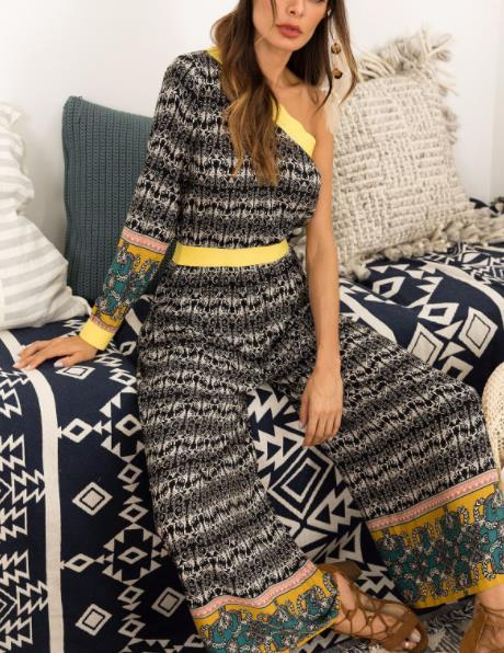 Fall 2018 Europe and the United States the new women's fashion and sexy woman stripe jumpsuits tall waist recreational style jumpsuit