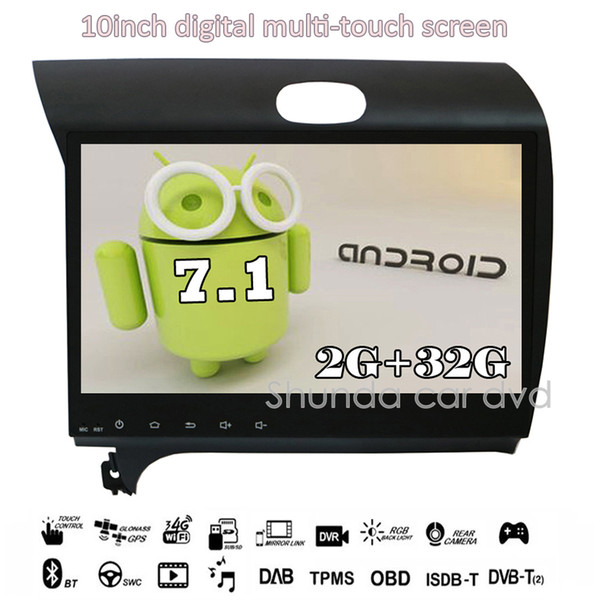 SHUNDA 10.2inch HD Android 7.1 T3 2G 16G Car DVD for KIA Forte Cerato K3 with 3G 4G Wifi radio navigation GPS bluetooth RDS free map