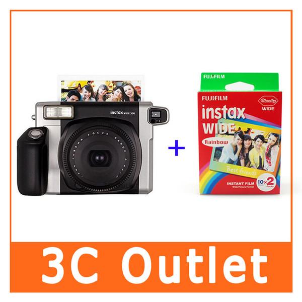 Instax Large 300 Caméra + arc-en-Véritable grand film photo papier 20 feuilles pour Fuji Appareil photo instantanée 300/200/210/100