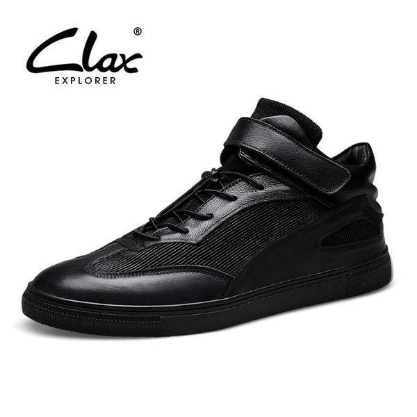 CLAX Men Boots Genuine Leather 2018 Autumn Shoe for Male Designer Short Ankle Boot Fashion Black Motorcycle Boot Casual Footwear