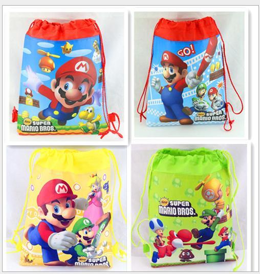 12pcs small super mario bros theme birthday party gifts non-woven drawstring goodie bags kids favor swimming school backpacks