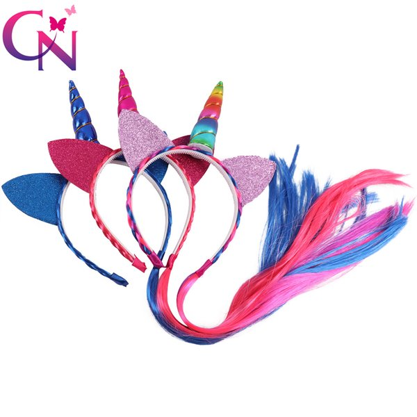 3 Pieces/lot Ponytail Unicorn Headbands With Glitter Ears For Kids Girls Princess Braid Wig Teeth Hairbands Hair Accessories