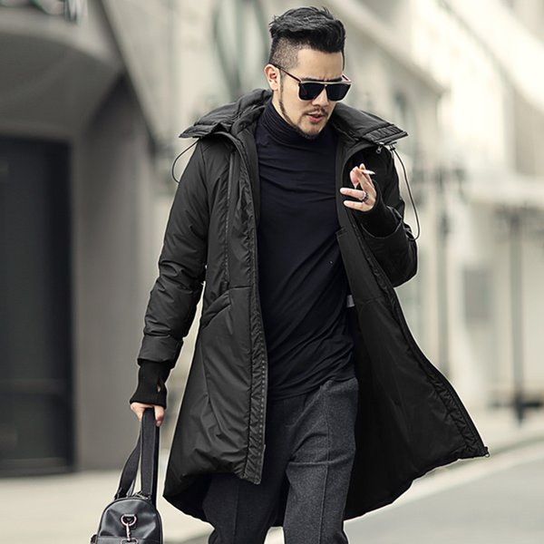 Men black long removable hooded outwear warm thick coat metrosexual man cotton British style new design winter coat slim 2018