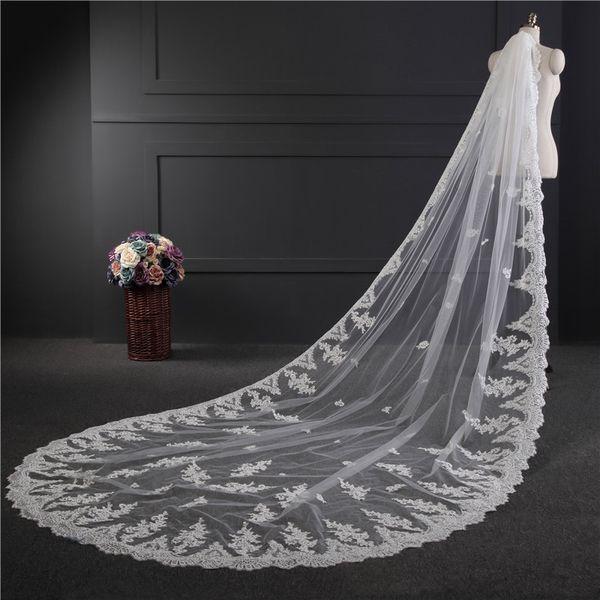 2018 neue hohe Qualität lange weiße Elfenbein Hochzeit Schleier Applikationen Spitze Perlen Brautschleier Braut Hochzeit Zubehör für Brautkleider QC1212