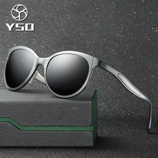 YSO Sunglasses Men Women Polarized UV400 Aluminium Magnesium Frame TAC Lens Sun Glasses Driving Glasses Cat Eye Accessories 8605