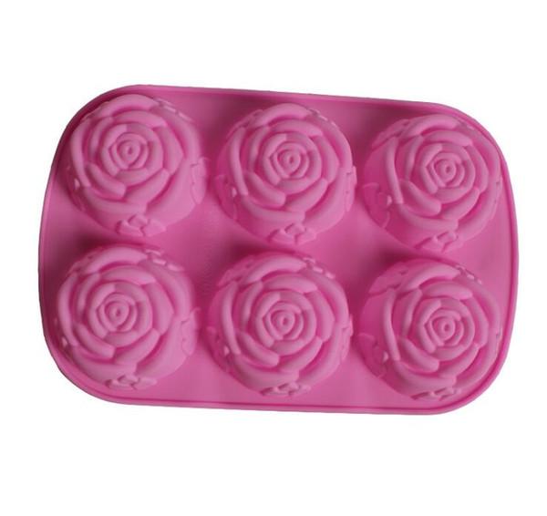 6 même des fleurs Fleur silicone moule à cake outil coeur Gélatine savon moule à gelée qualité alimentaire Case Cuisine Outils 24 * 16.5 * 3 cm